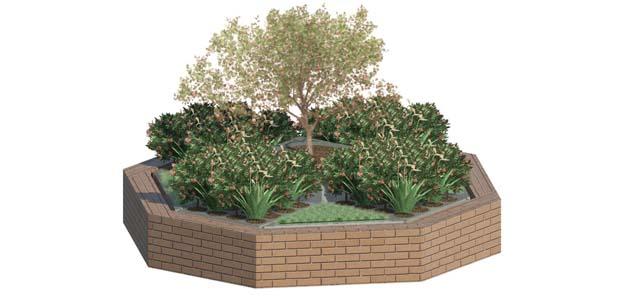 Insel Wanne 1 mit Pflanzen und Mauer