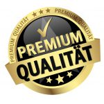 round button with banner and text Premium Qualität